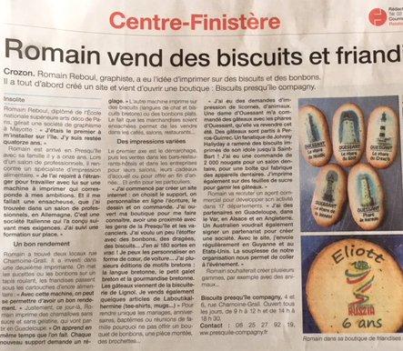 Les biscuits identitaires, impression friandises - Article bonbons personnalisés et biscuits imprimés dans Ouest France