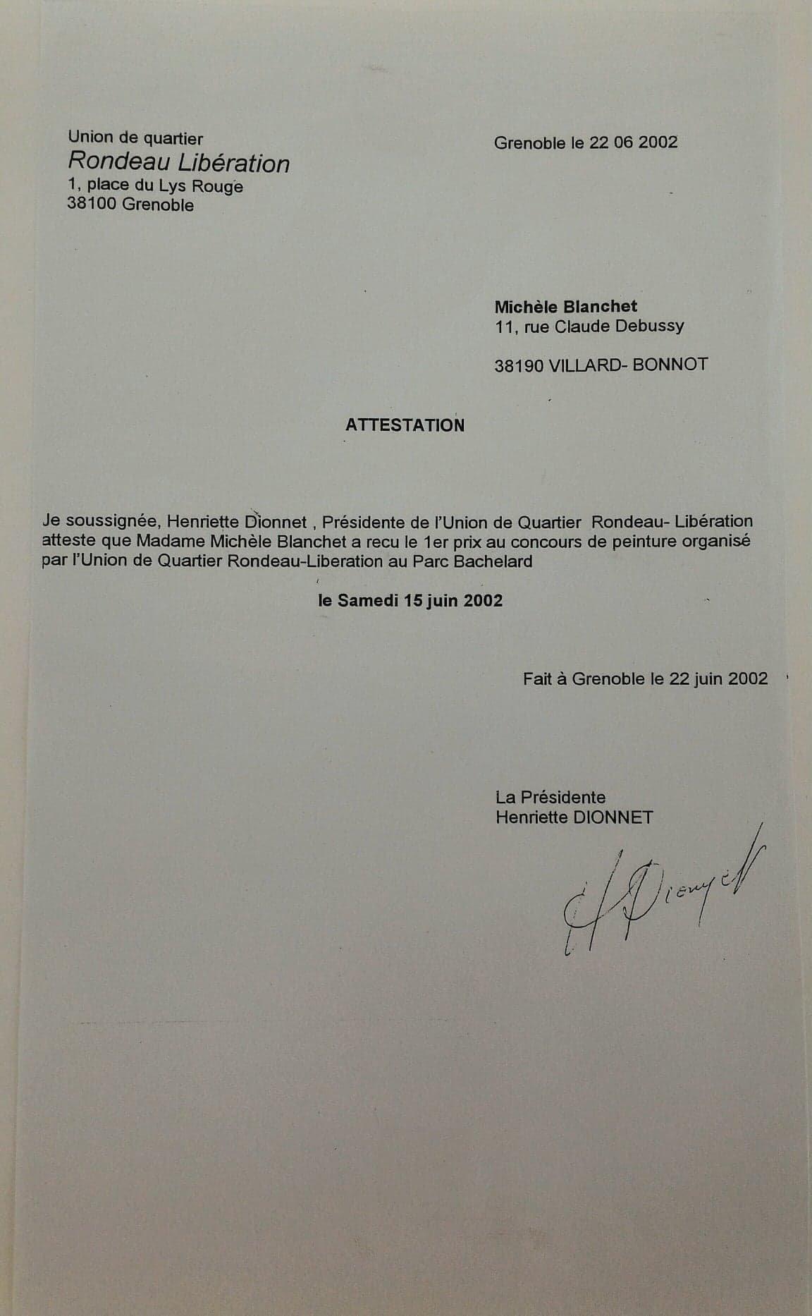 Michèle Blanchet-Durand - 1er prix au concours de peinture organisé par l'Union de Quartier Rondeau-Libération au parc Bachelard